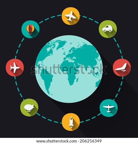 Paper clipped sticker: globe. transport Set. Isolated illustration icon - stock vector