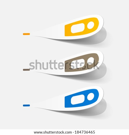 Paper clipped sticker: medical thermometer.  - stock vector
