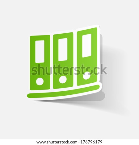 Paper clipped sticker: office folders. Isolated illustration icon - stock vector