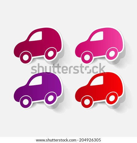 Paper clipped sticker: symbol car. Isolated illustration icon