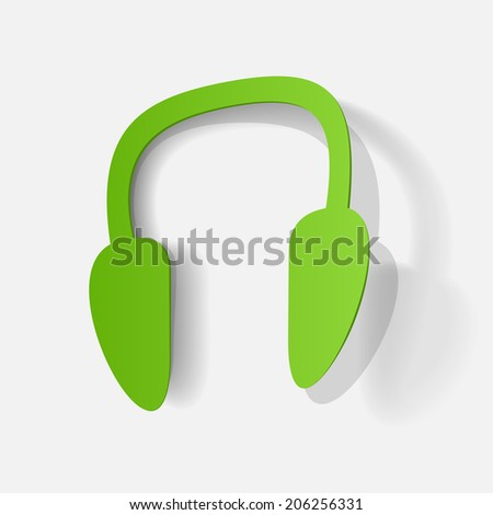 Paper clipped sticker: Wireless Headphones. Isolated illustration icon - stock vector