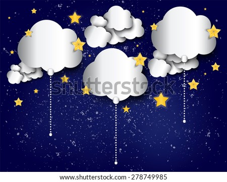 Paper cloud balloons on the night starry sky abstract background. Vector illustration. - stock vector