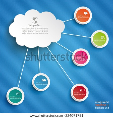 Paper cloud with ciccles on the blue background. Eps 10 vector file. - stock vector