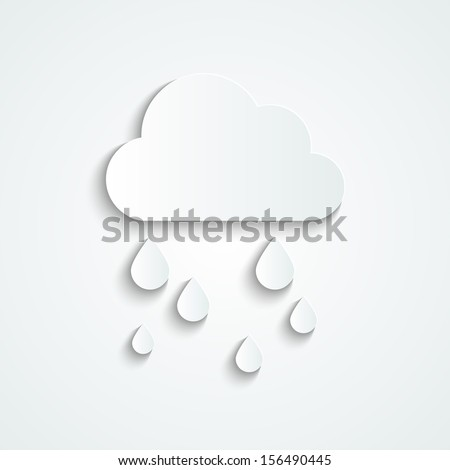 Paper cloud with rain drops - stock vector