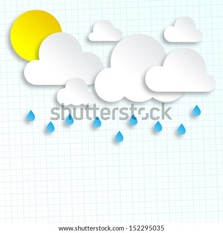 Paper Clouds And Sun Background With Place For Text - stock vector