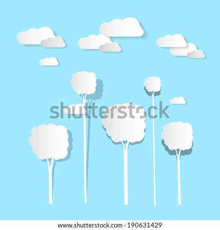 Paper Clouds and Trees on Blue Background - stock vector