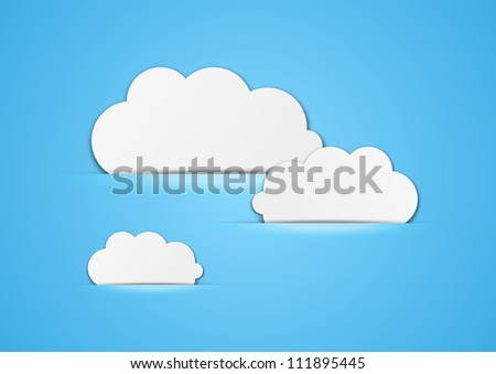 Paper clouds background with place for text