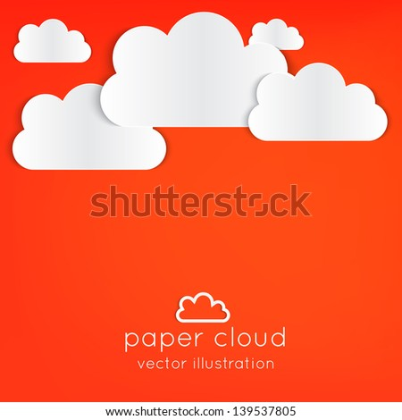 Paper clouds background with place for your text on orange.  Can be used as icon, sign, element for web design or business presentations. - stock vector