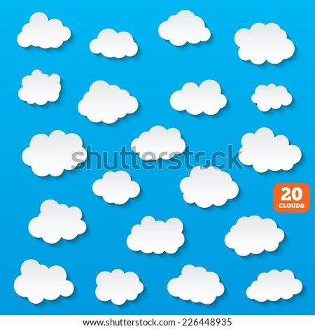 Paper clouds. Cloud shape icons for web and app. Cloud computing storage. Vector - stock vector