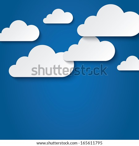 Paper clouds on blue background. Vector abstract background with clouds. Paper sky. Flat icons.