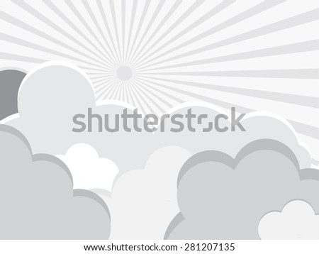 Paper clouds on sun background