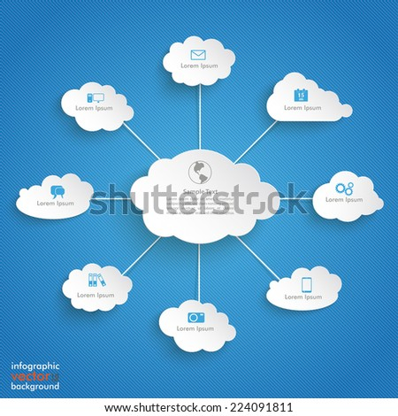 Paper clouds on the blue background. Eps 10 vector file. - stock vector