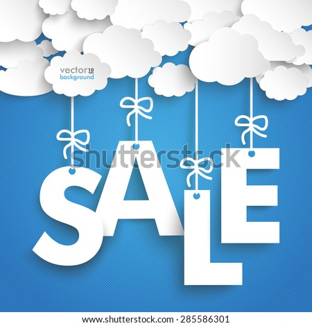 Paper clouds with text SALE on the blue background. Eps 10 vector file. - stock vector