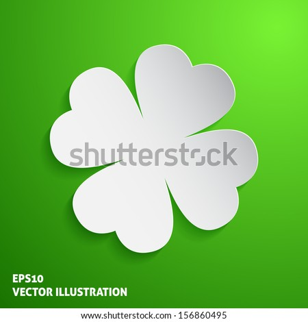 Paper clover icon on green background. Vector illustration - stock vector