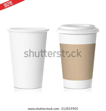 paper coffee cup isolated on white background  in vector format - stock vector