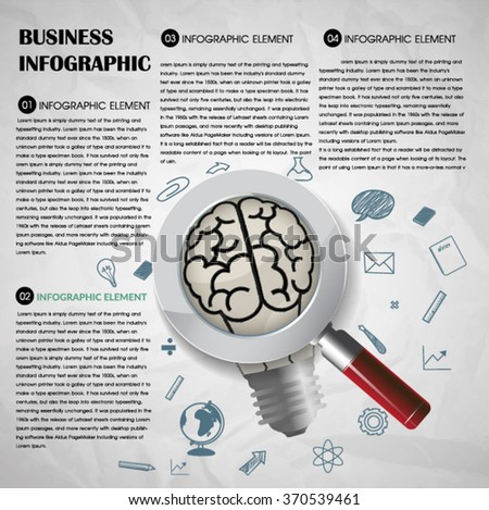 Paper creative education concept infographic with magnify and light bulb elements. - stock vector