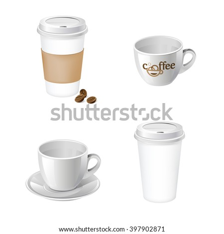 Paper cup and classic cup for your design and branding. Vector. Realistic cups with label and holder. Coffee to go.