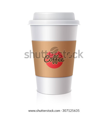 Paper cup for coffee. Realistic vector illustration - stock vector