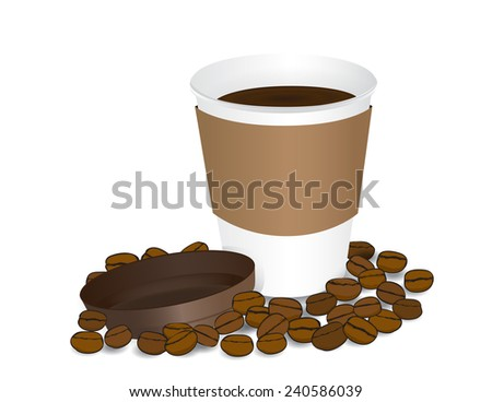 Paper cup of coffee white background  - stock vector