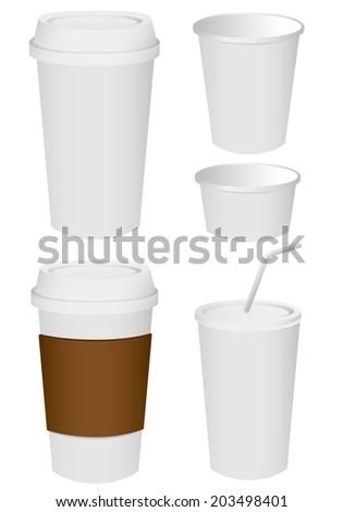 Paper cup set Vector - stock vector