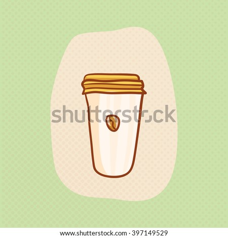Paper cup with coffee. Coffee sketchy clipart. Vector design hot Coffee element. Sketch for coffee house flyer, banner, ad, package, poster. Hand drawn paper cup of Coffee with Coffee bean - stock vector
