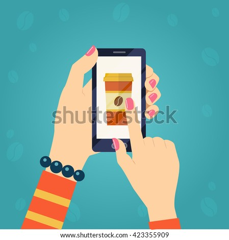 Paper Cup with coffee on smartphone screen. Hand hold smartphone, finger touch sign in button. Flat vector illustration - stock vector