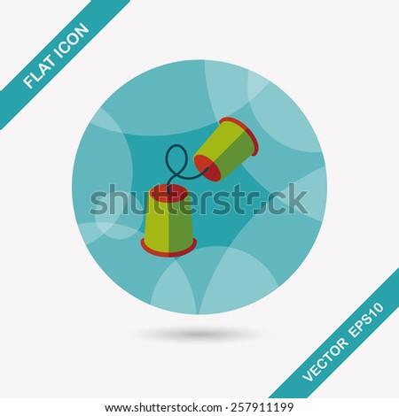 paper cups phone flat icon with long shadow,eps10 - stock vector