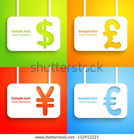 Paper currency signs - dollar, euro, yen and pound. Vector money symbol. Green, orange, red and blue color background. With place for text. Funny icons. - stock vector