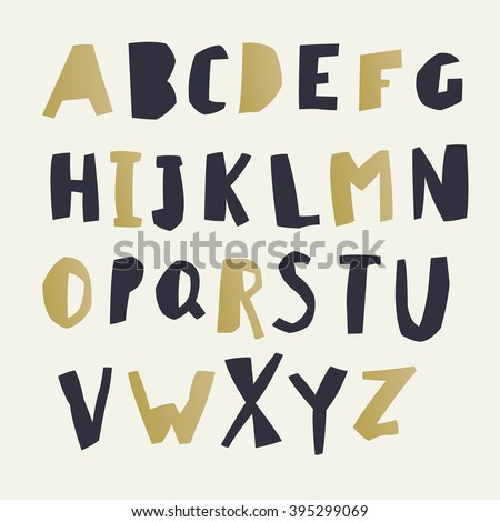 Paper Cut Alphabet. Black and gold letters. Easy edited color of letter. Capital letters. Each letter in separate group and ready for use. Good for ecology, environment, nature, organic themed designs - stock vector