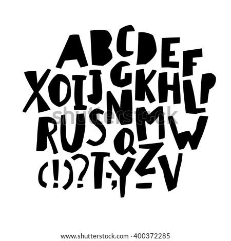 Paper Cut Alphabet. Black  letters. Capital letters.  - stock vector