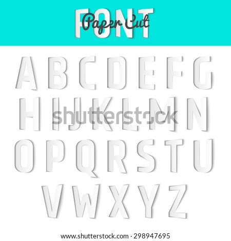 Paper cut alphabet, half-immersed font style. Vector illustration - stock vector