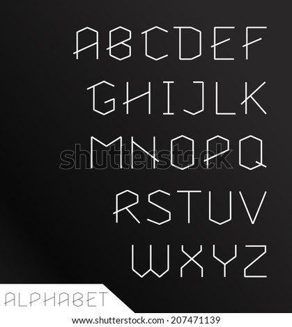 Paper cut alphabet set. Typographic sign, modern design - stock vector