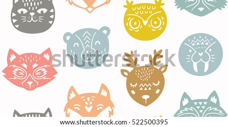 Paper cut animals repeating background. Fox and owl, seal, polar bear, deer, raccoon, red panda and cat. Vector seamless pattern.