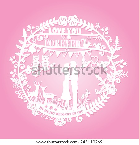 Paper cut arts - silhouette of man and woman hugging and animals couple with text love you forever and my heart belongs to you, vector - stock vector
