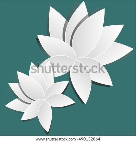 Paper cut beautiful white lotus flower stock vector 490152064 paper cut beautiful white lotus flower mightylinksfo