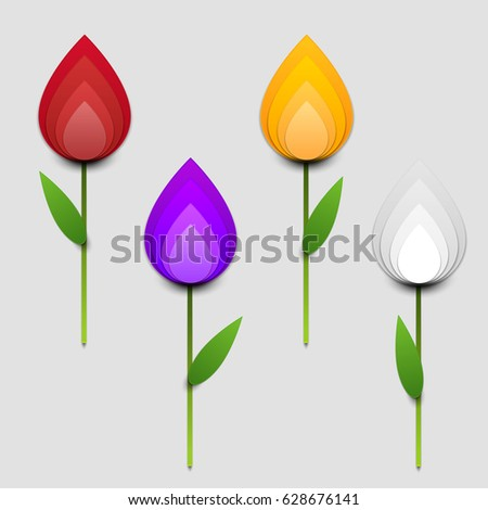 paper cut cartoon colorful tulips realistic stock vector royalty