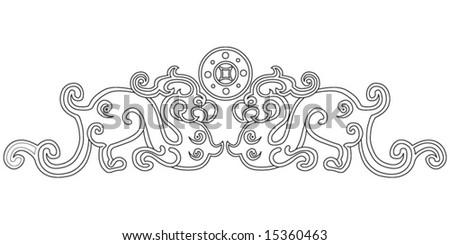 Paper cut dragon - stock vector