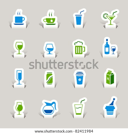 Paper Cut - Drink Icons - stock vector