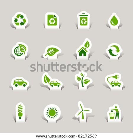 Paper cut - Ecological Icons - stock vector