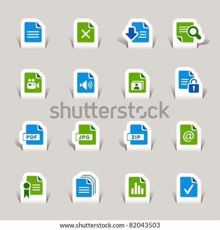 Paper cut - File format icons - stock vector