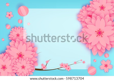 Paper cut floral greeting card origami stock vector 598713704 paper cut floral greeting card origami flower holiday background square frame space for mightylinksfo