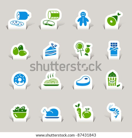 Paper Cut - Food Icons - stock vector