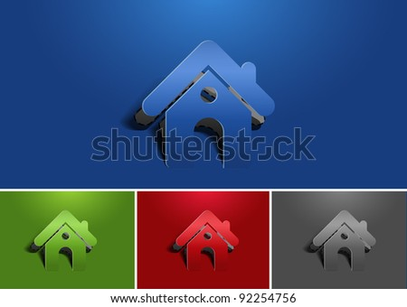 paper cut home icon - stock vector