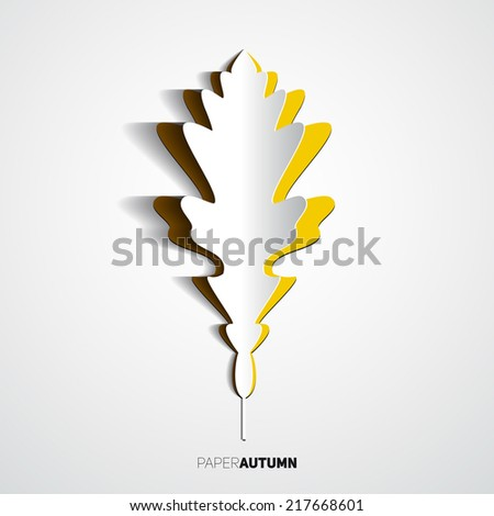 Paper cut leaf, Origami style, Vector illustration card - stock vector
