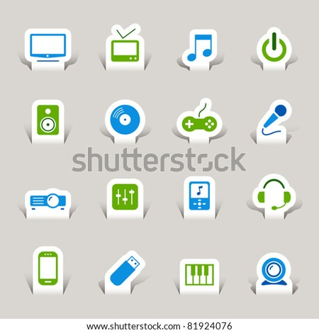 Paper cut - Media icons - stock vector