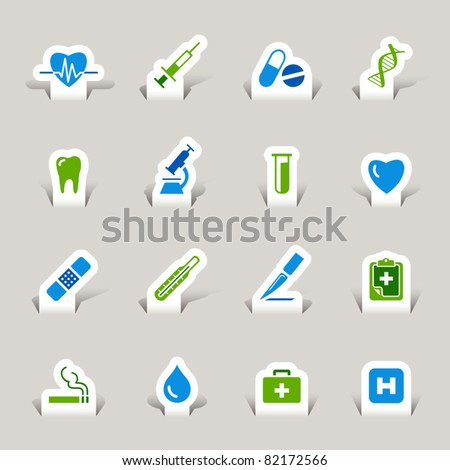 Paper cut - Medical icons - stock vector