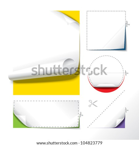 Paper cut out and curl. - stock vector
