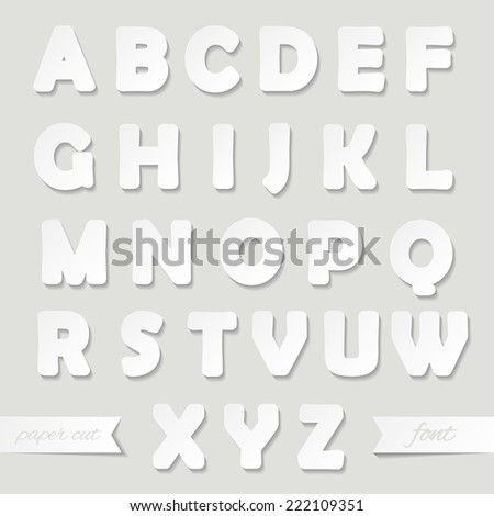 Paper cut out font. - stock vector
