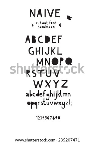 Paper cut out font - stock vector