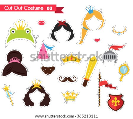 paper cut out for kids with prince and princess theme. can be used as a props for a themed party - stock vector